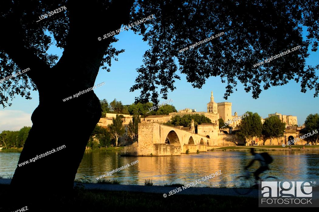 Imagen: View of Pont d'Avignon (or Pont St Benezet) and Rhone river towards the Papes Palace in the early evening, Avignon city, in Provenza-Alpes-Cotes d'Azur region.