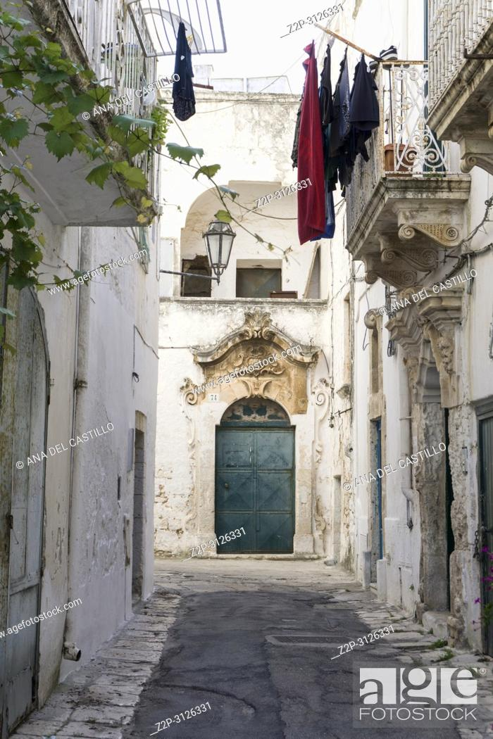 Stock Photo: Cityscape in Ostuni Brindisi Puglia Italy on July 13, 2018.