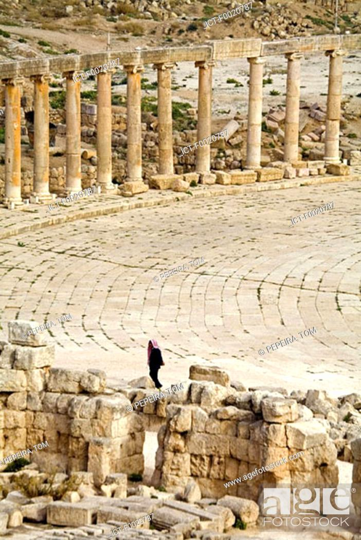 Stock Photo: Jordan, Jerash, view from temple of Zeus.