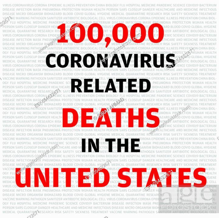Stock Vector: Statistics calligraphy noting 100, 000 causalities in United States of America due to COVID-19 Coronavirus.