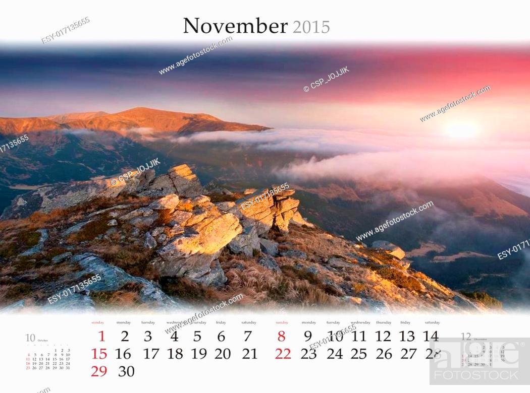 Stock Photo: Calendar 2015. November. Beautiful autumn landscape in the mount.