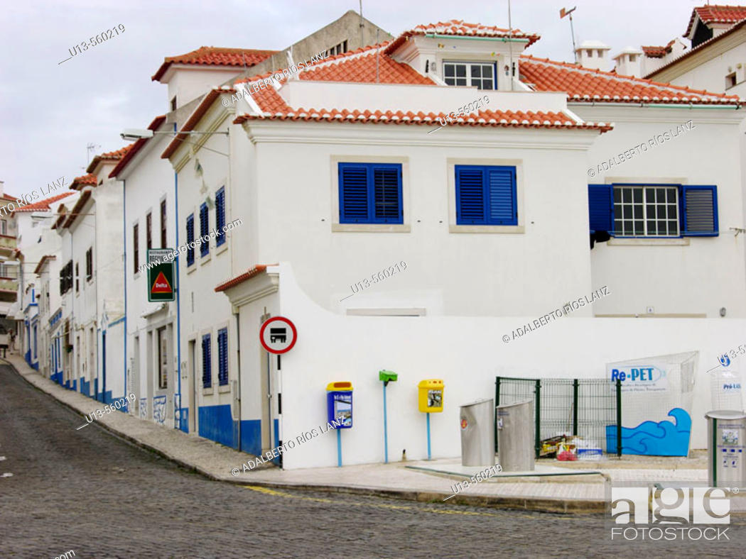 Stock Photo: Typical White House Fishermen Village Ericeira Portugal Mafra Atlantic Coast.