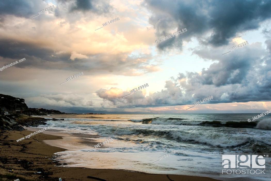 Stock Photo: Beach scene, Arenys de Mar, Barcelona province, Spain.