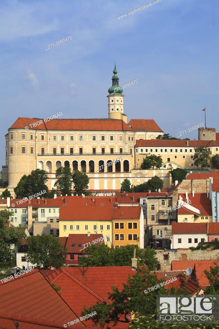 Stock Photo: Czech Republic, Moravia, Mikulov, skyline, general view, castle,.