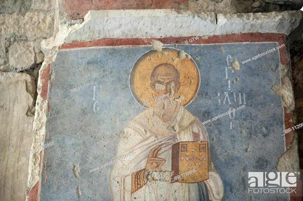 Stock Photo: Saint Nicholas church, painted frescos, Demre, Myra, Turkey.
