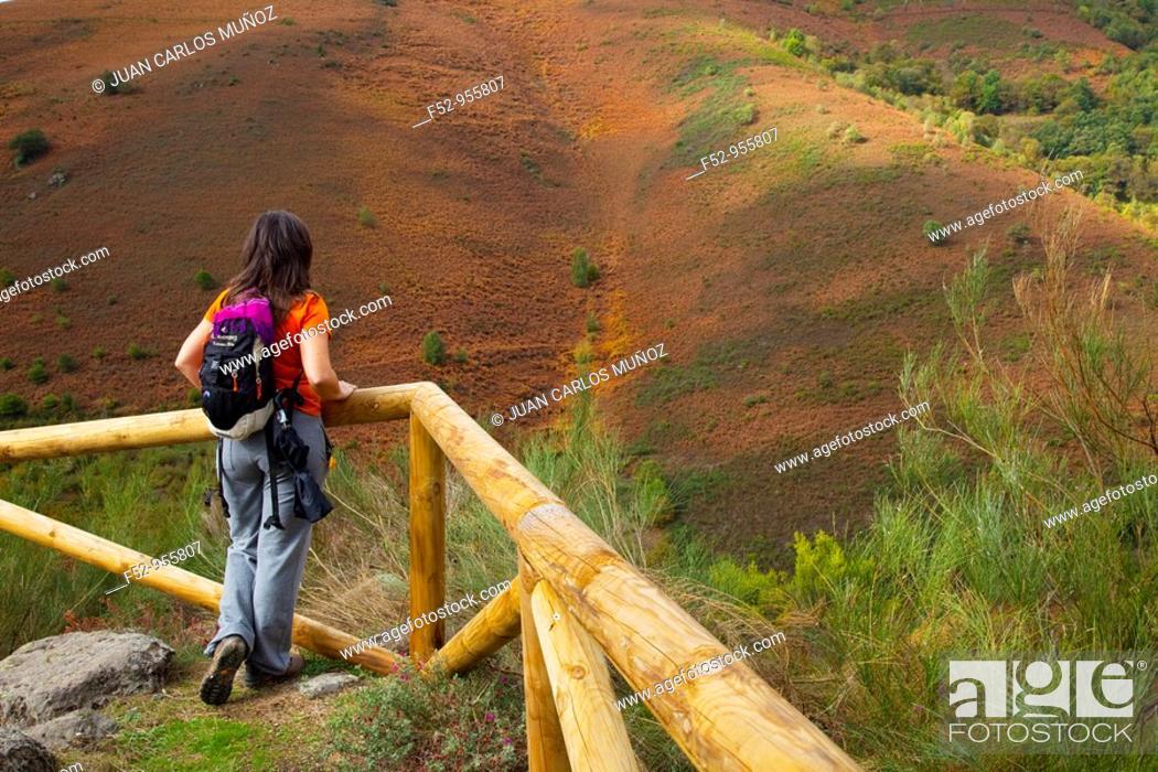 Stock Photo: Path to the cascade of Aguablanca. Comarca Fuentes del Narcea. Asturias. Spain.