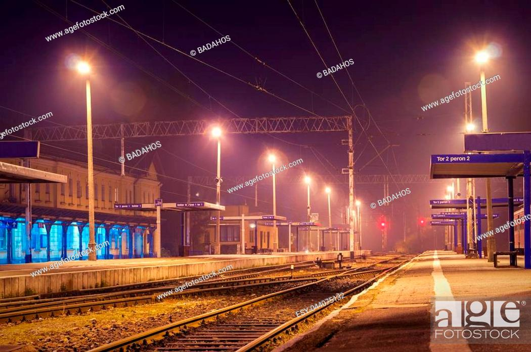 Stock Photo: The train station at night. One train.