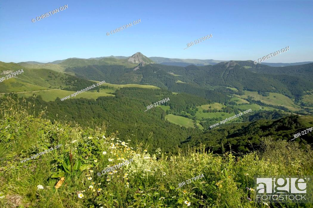 Stock Photo: Mandailles valley, Parc Naturel Regional des Volcans d'Auvergne, Auvergne Volcanoes Regional Nature Park, Cantal, France, Europe.