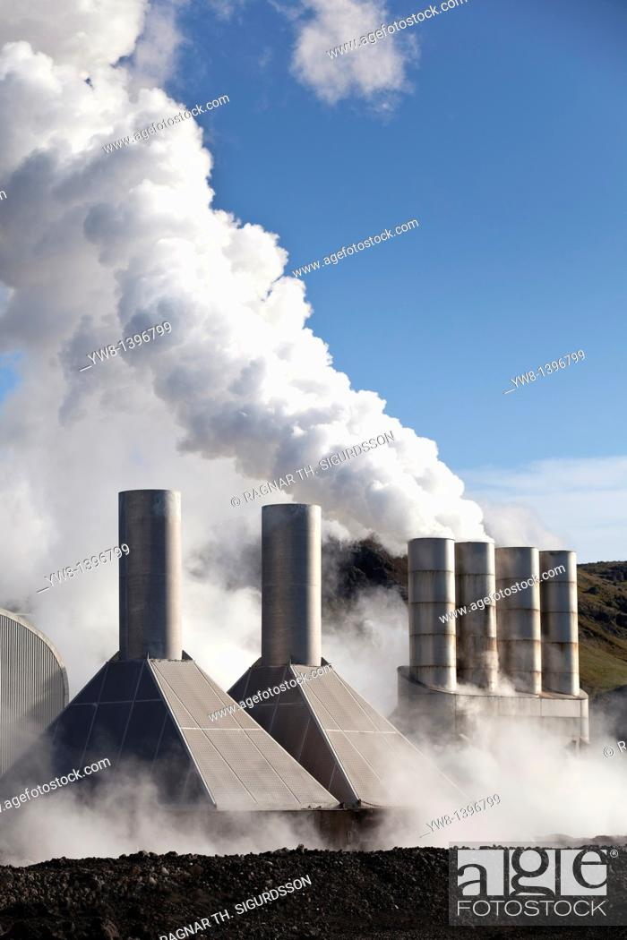 Stock Photo: Steaming pipes at Svartsengi Geothermal Power Plant, Reykjanes Peninsula, Iceland.