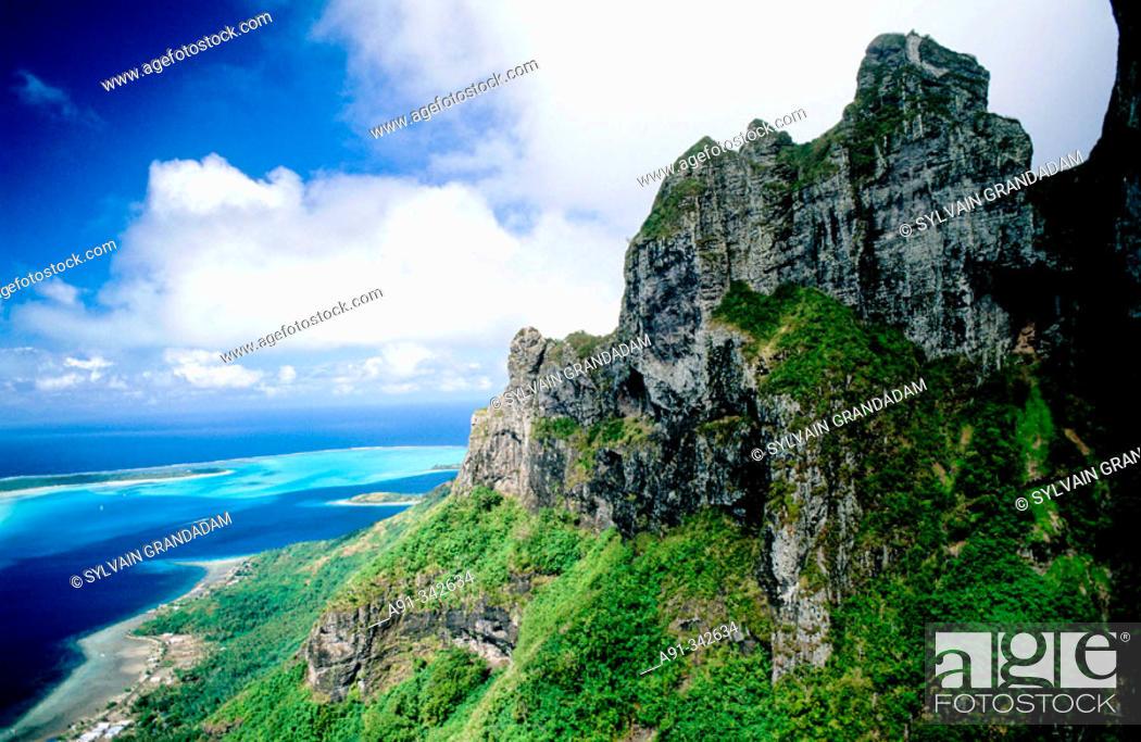 Stock Photo: Aerial of the Otemanu peak in Bora-Bora. Leeward islands. Society archipelago. French Polynesia.