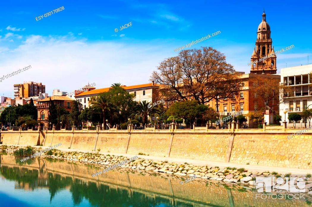 Stock Photo: View of Murcia. Embankment of Segura river and Cathedral. Spain.