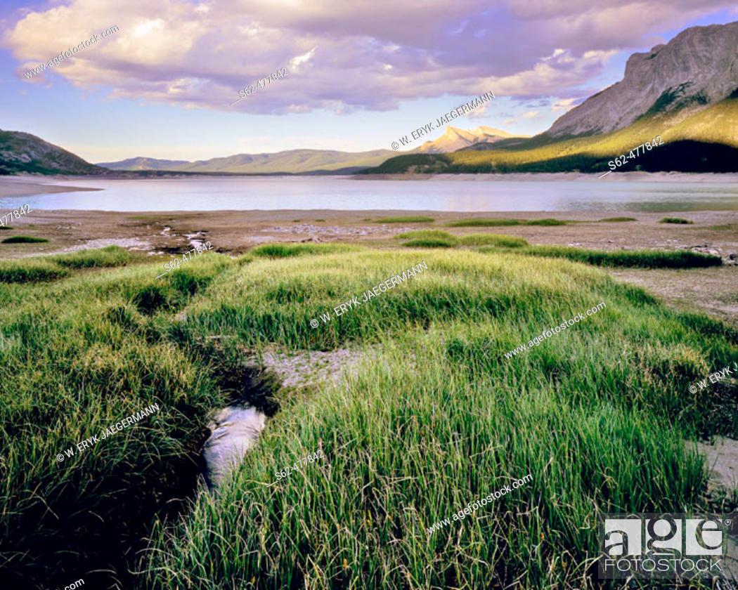 Stock Photo: Light Plays on the Mountain Sides, Abraham Lake, Rocky Mountains, Alberta, Canada.