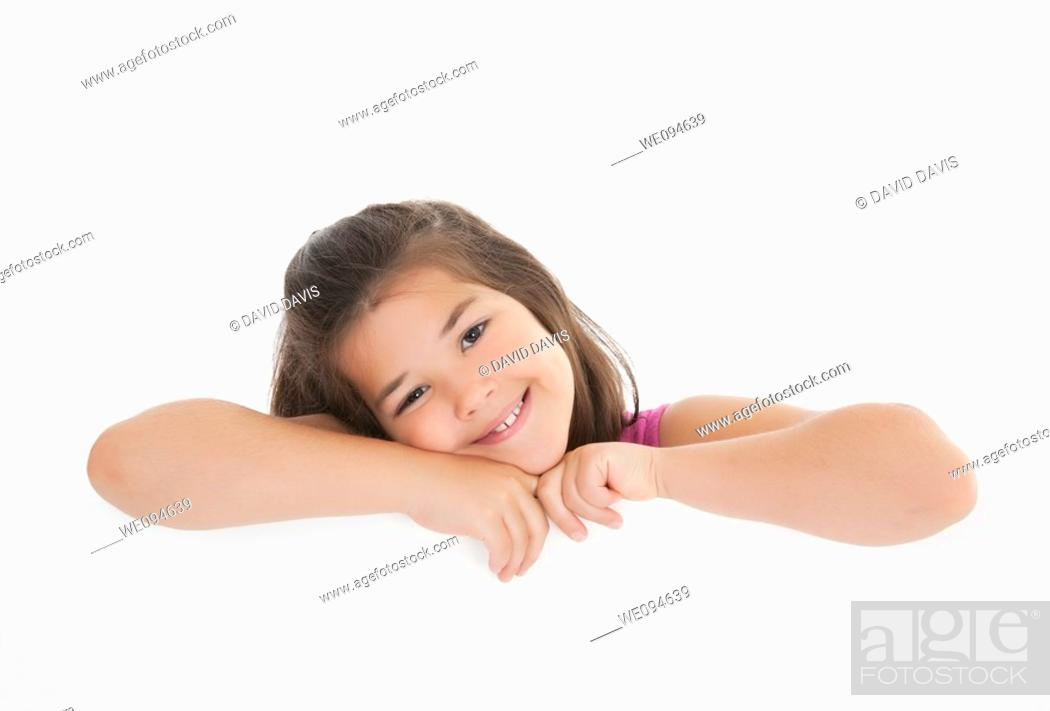 Stock Photo: Cute Caucasian girl holding a blank sign.