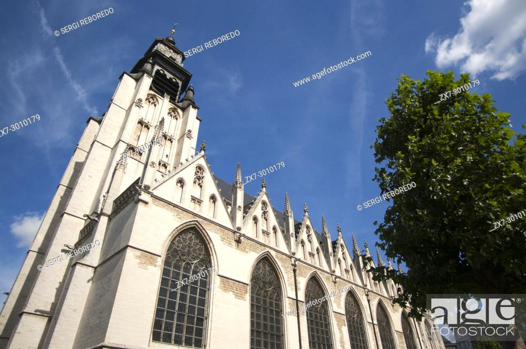 Stock Photo: Church of Our Blessed Lady of the Sablon (Onze-Lieve-Vrouw ten Zavel/Notre-Dame du Sablon) in Brussels, Belgium.