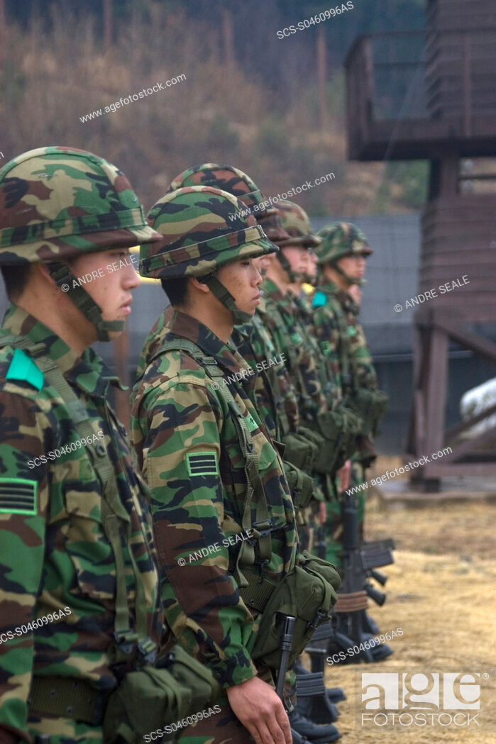 Stock Photo: Korean soldiers at the Prisoner of War Camp museum, Geoje-do Park, South Korea.