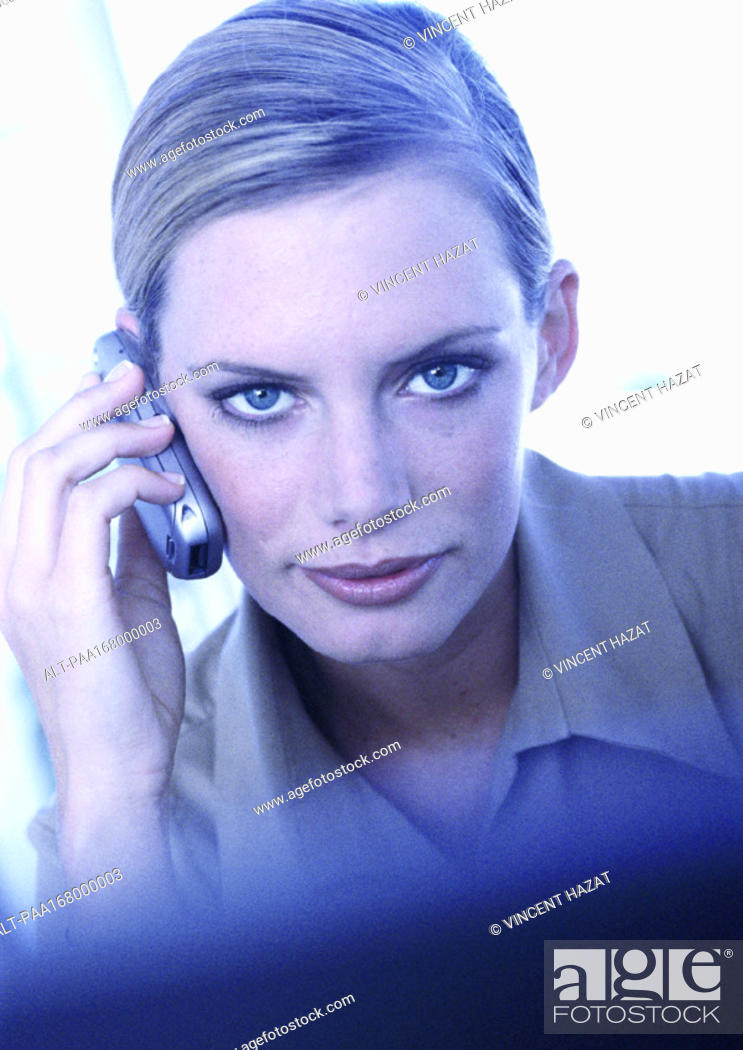 Stock Photo: Businesswoman using cell phone, portrait.