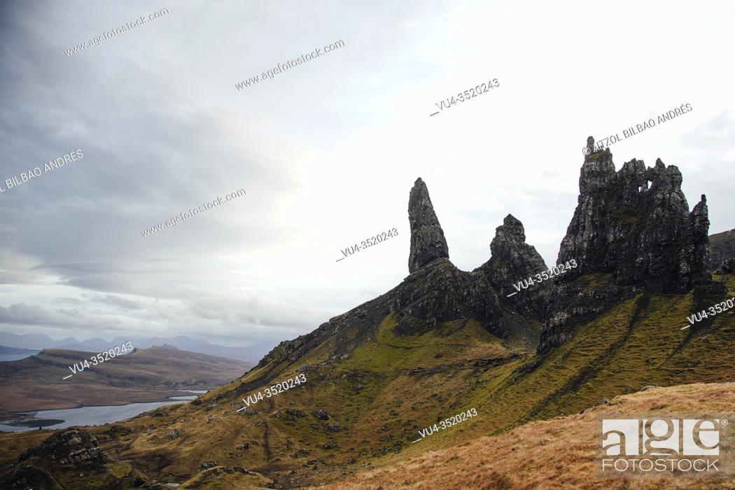 Stock Photo: The old Man of Storr, is a rocky hill on the Trotternish peninsula of the Isle of Skye in Scotland. .