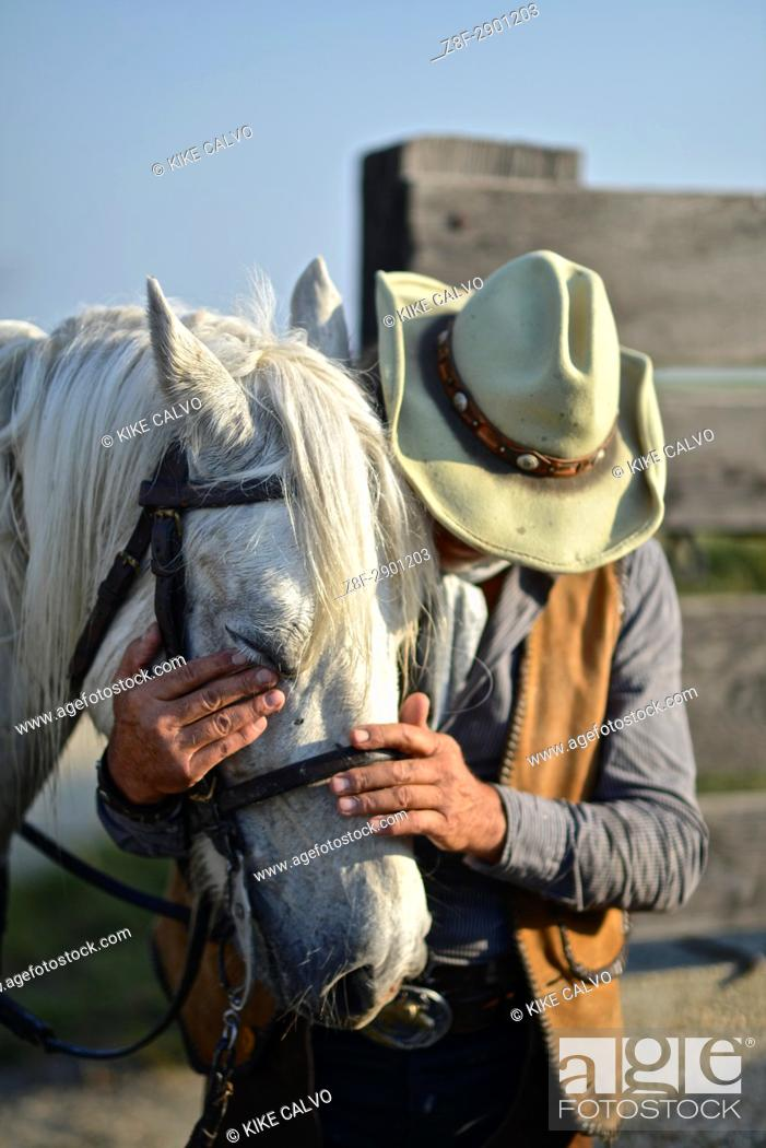 Stock Photo: Camague Gardian, a mounted cattle herdsman in the Camargue delta in Provence, southern France.