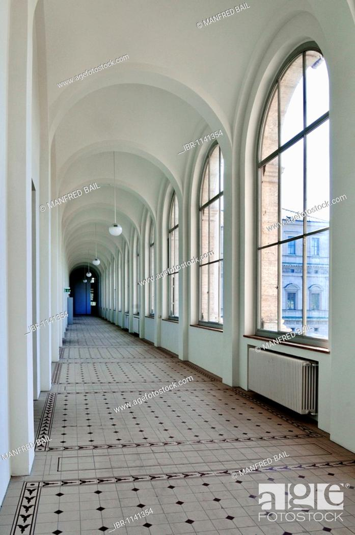 Stock Photo: Corridor in the Academy of Fine Arts, Munich, Bavaria, Germany, Europe.
