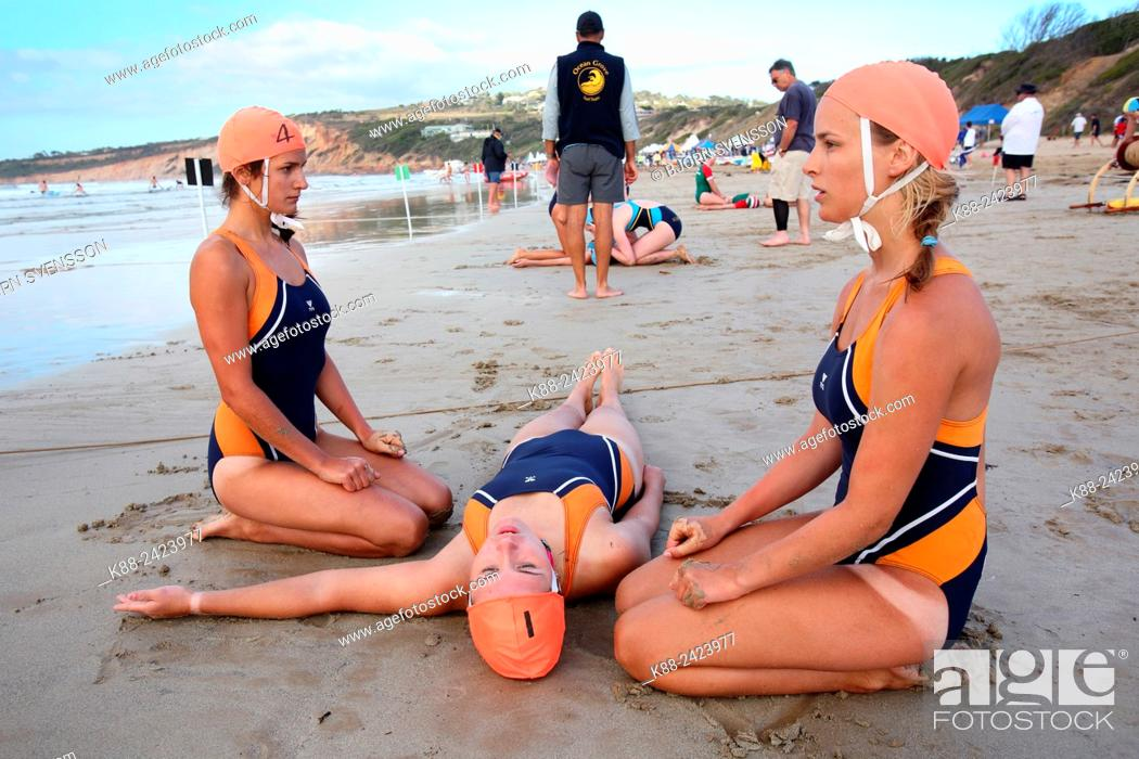 Stock Photo: Teams competing in rescue and resuscitation (R&R) during a surf lifesaver carnival. Jan Juc, Victoria, Australia.