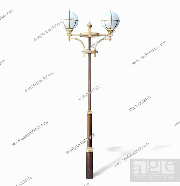 Stock Photo: Modern park lamp isolated on white background.