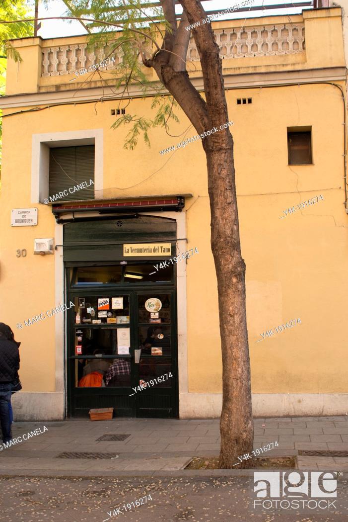 Stock Photo: Europe, Spain, Barcelona Gracia neighborhood.