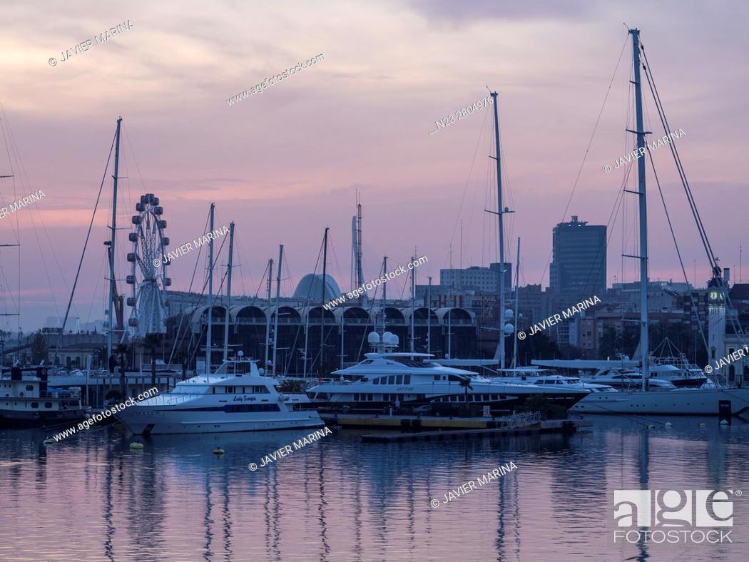 Stock Photo: Port and ferris wheel, Valencia, Spain.