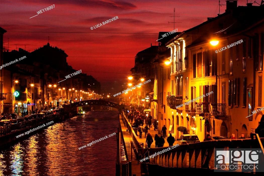 Stock Photo: Sunset on river - Naviglio Grande, Milan Italy.