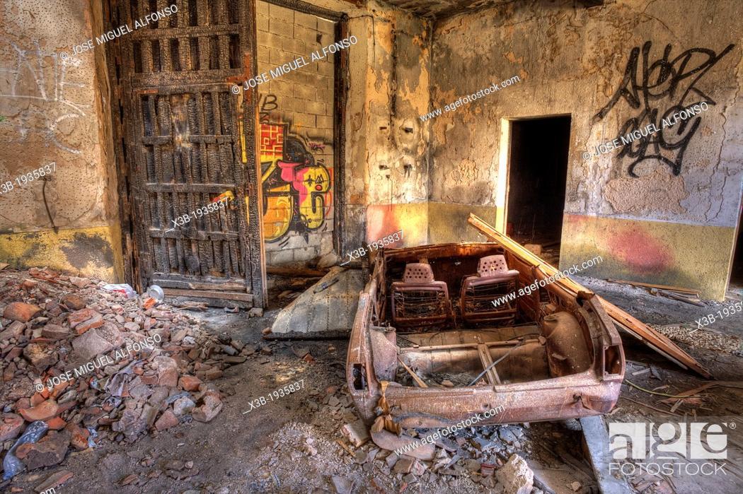 Stock Photo: Abandoned building. Villa Villaflores. Guadalajara. Spain.