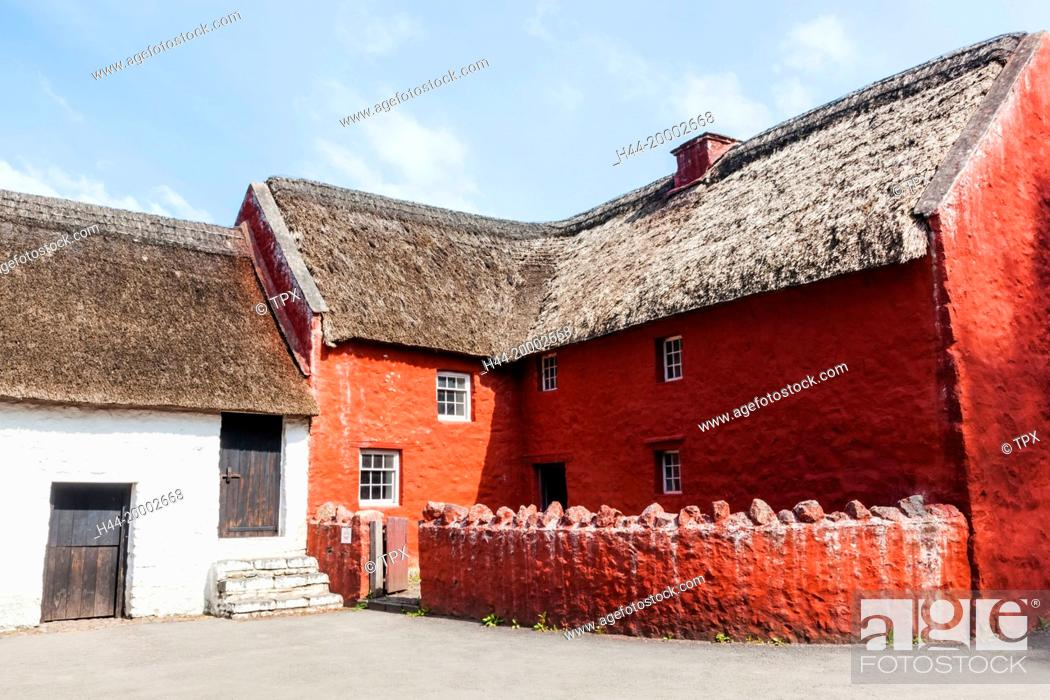 Stock Photo: Wales, Cardiff, St Fagan's, Museum of Welsh Life, Historic Village House.