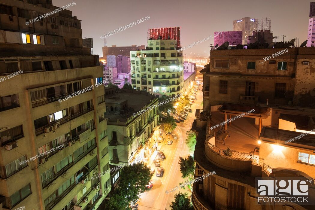 Stock Photo: Downtown Cairo overview at night. Egypt.