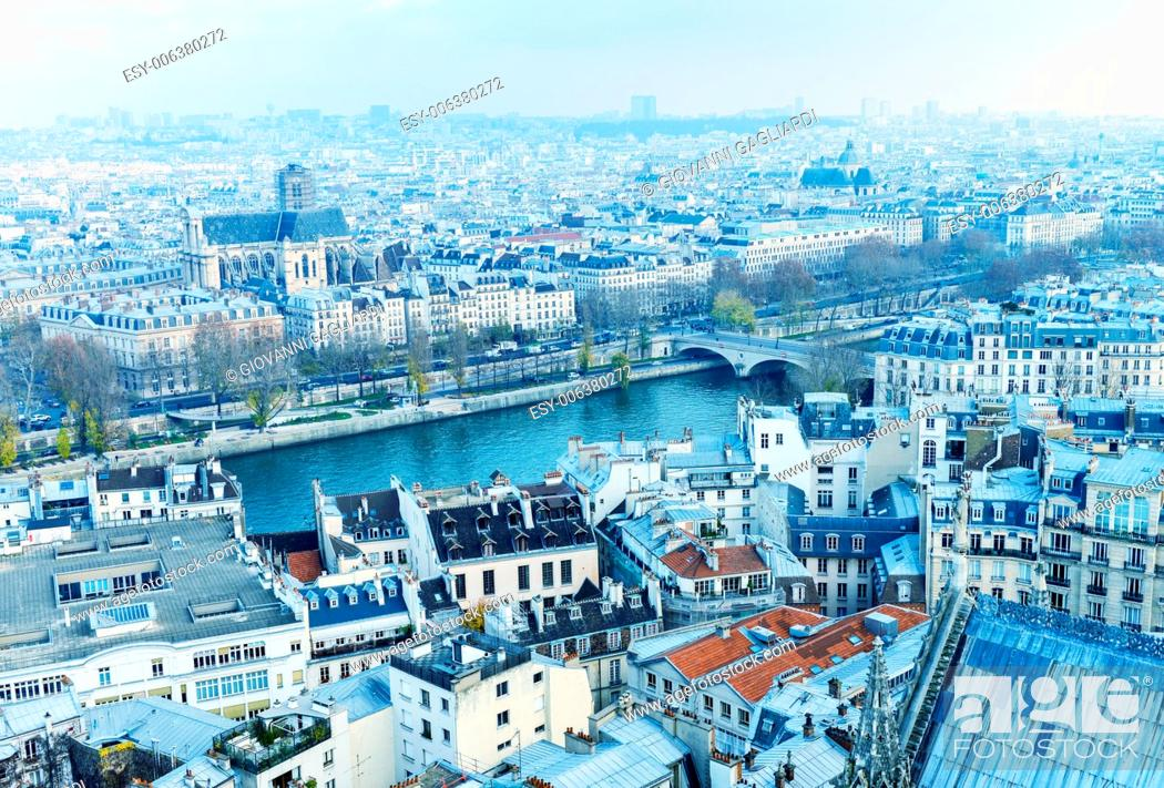 Stock Photo: Paris, France. Beautiful city aerial view from the top of Notre Dame.
