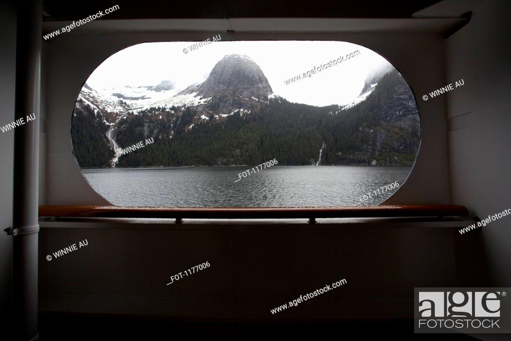 Stock Photo: View of Tracy Arm fjord through the window of a passenger ship, Alaska.