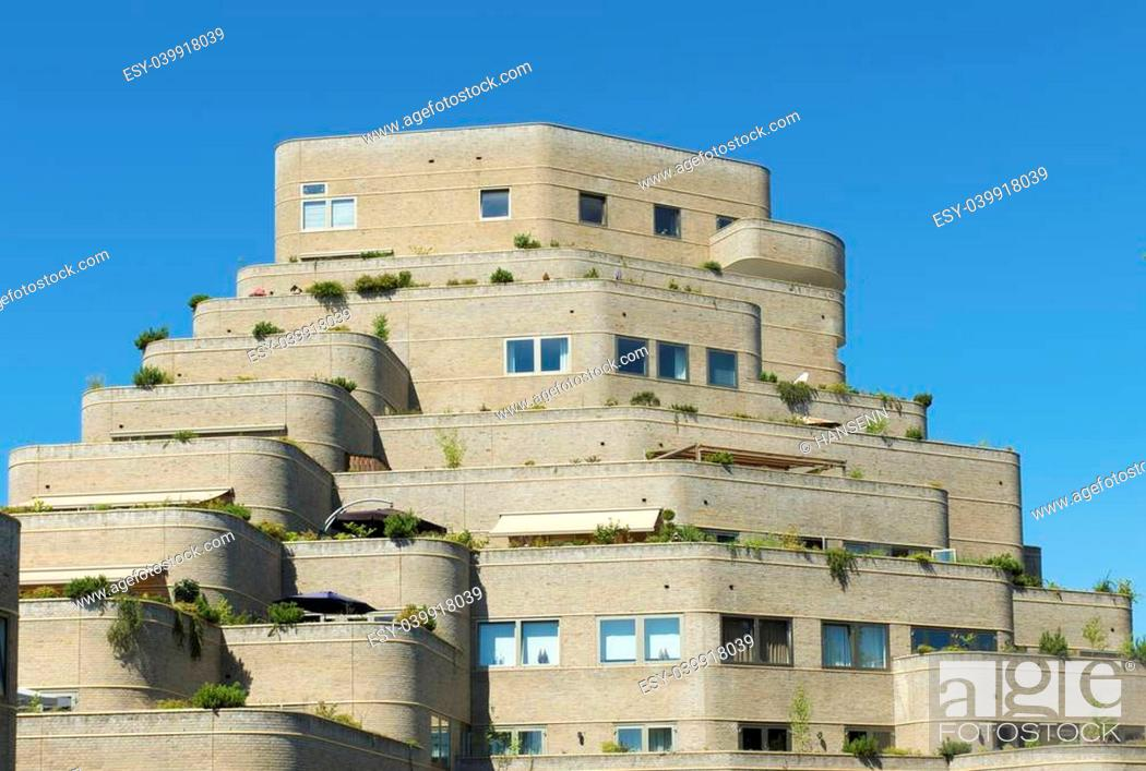 Stock Photo: modern residential apartment building.