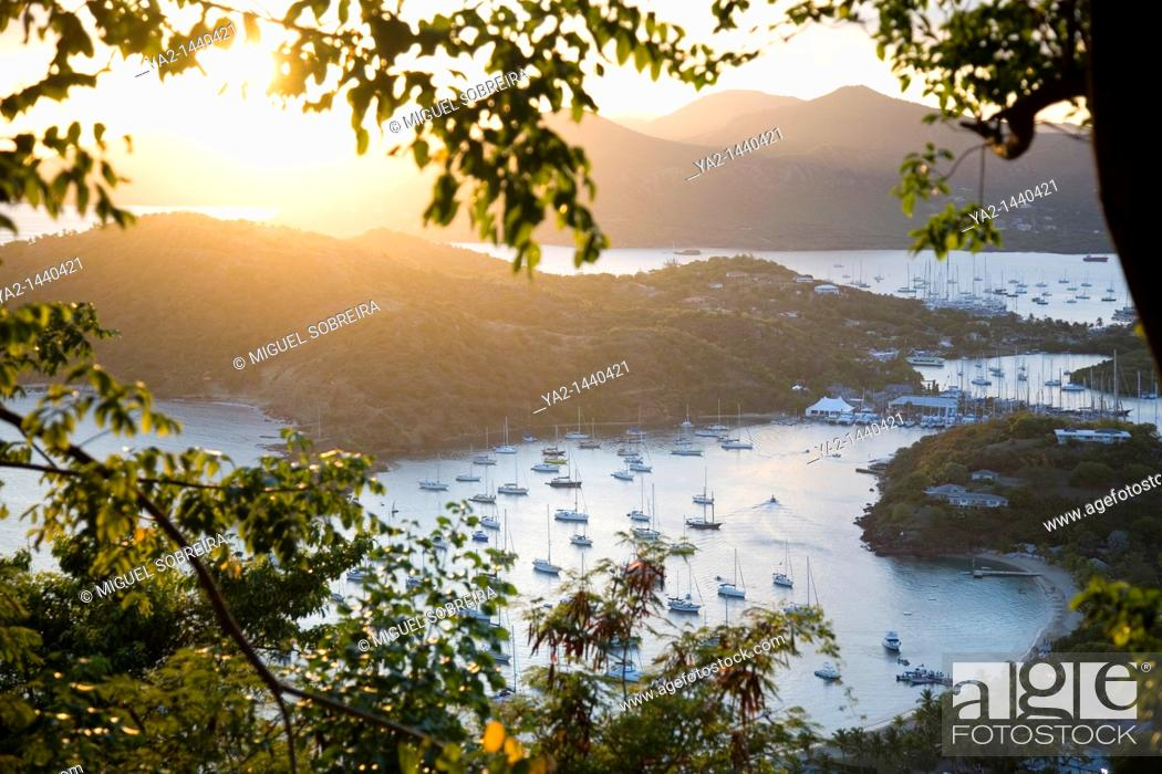 Stock Photo: View of Falmouth and English Harbours from Shirley Heights.
