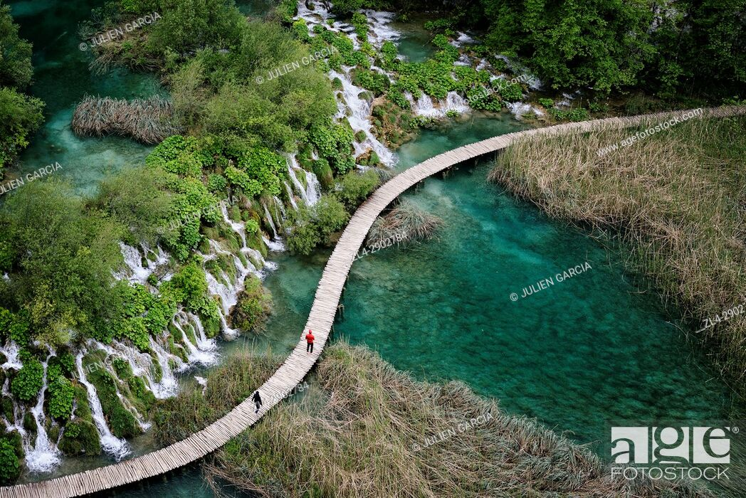 Stock Photo: Croatia, Plitvice lakes National Park, listed as World Heritage by UNESCO, lower lakes.