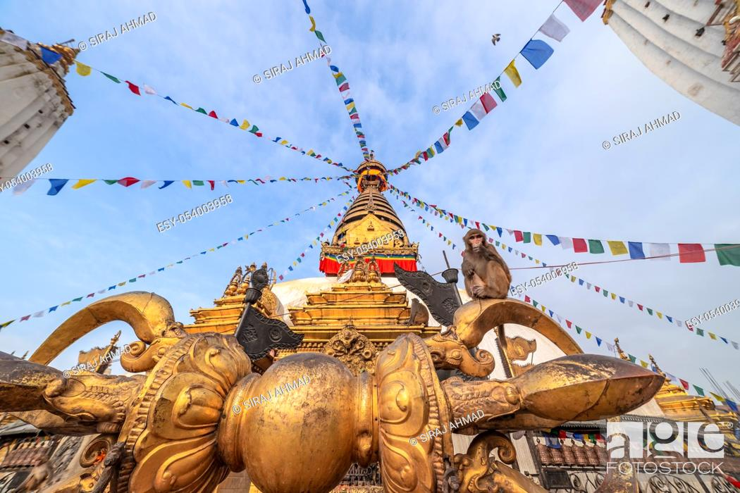 Imagen: Swayambhunath Stupa, aka The Monkey Temple, during sunrise in Kathmandu, Nepal. A UNESCO Heritage Site. Ancient ruins and stone temples.