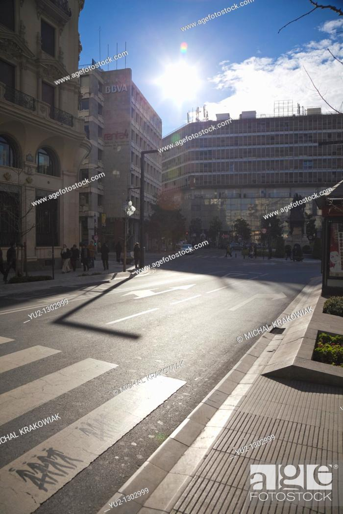 Stock Photo: Crosswalk in modern part of Malaga, Spain.