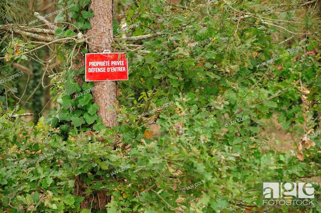 Imagen: Private Property sign in forest, Lot-et-Garonne Department, Aquitaine, France.