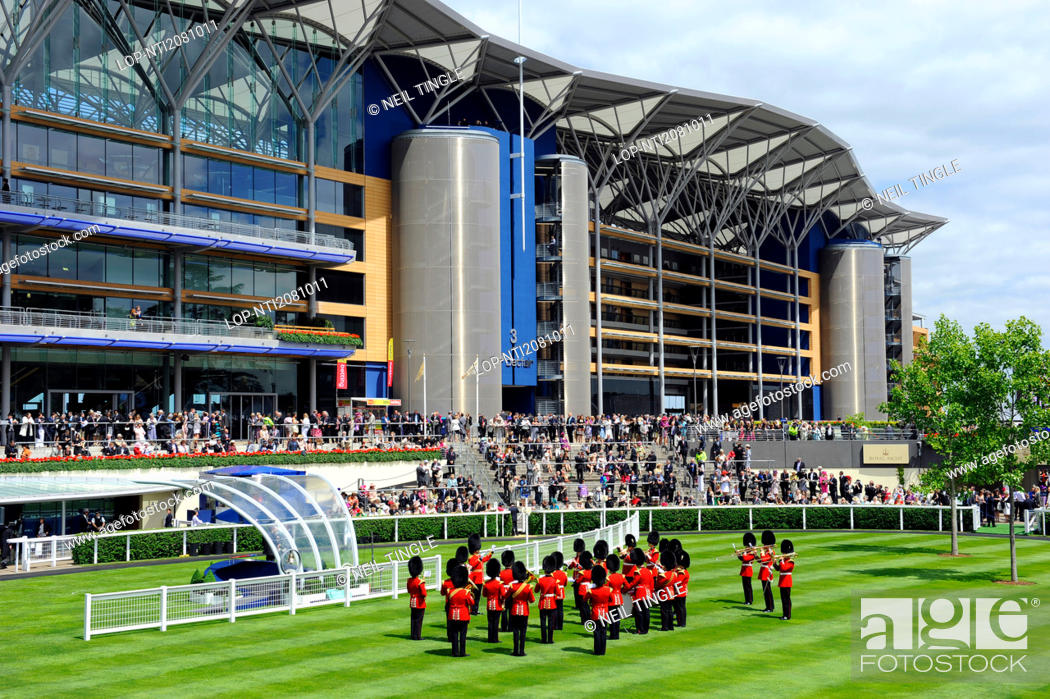 Stock Photo: England, Berkshire, Ascot. A military band performing in the parade ring during day one of Royal Ascot 2010.