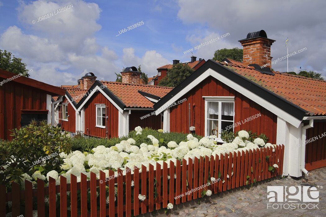Stock Photo: Old houses in Vastervik, Smaland, Sweden.