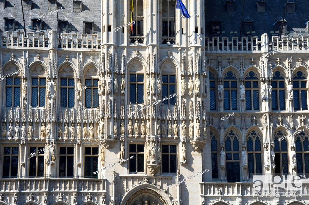 Stock Photo: City Hall, Grand Place, Unesco World Heritage Site, Brussels, Brabant, Belgium, Europe.