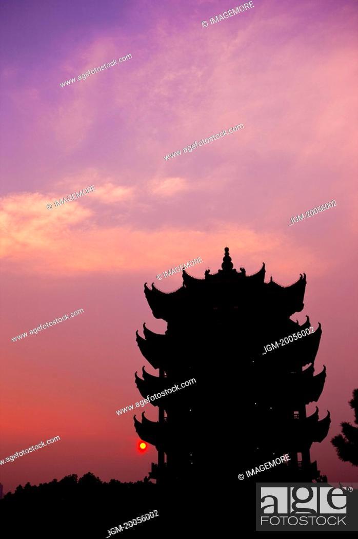 Stock Photo: China, Hubei Province, Wuhan, Wuchang, Yellow Crane Tower.