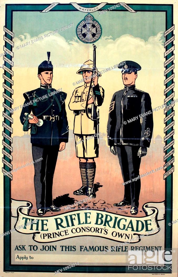 Stock Photo: Interwar Period Recruiting - The Rifle Brigade (Prince Consort's Own), original poster printed by Gale & Polden circa 1933 - 87 x 56 cm.