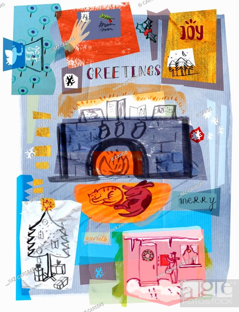 Stock Photo: A collage illustration of Christmas cards and gifts and pets by a warm winter fire.