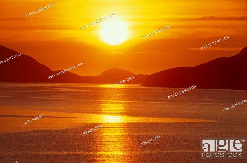 Stock Photo: Sunrise over Eastport Bay, Newfoundland and Labrador, Canada.