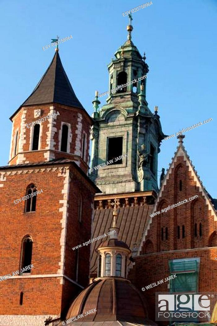 Stock Photo: Wawel Hill and the Royal Castle in Krakow.