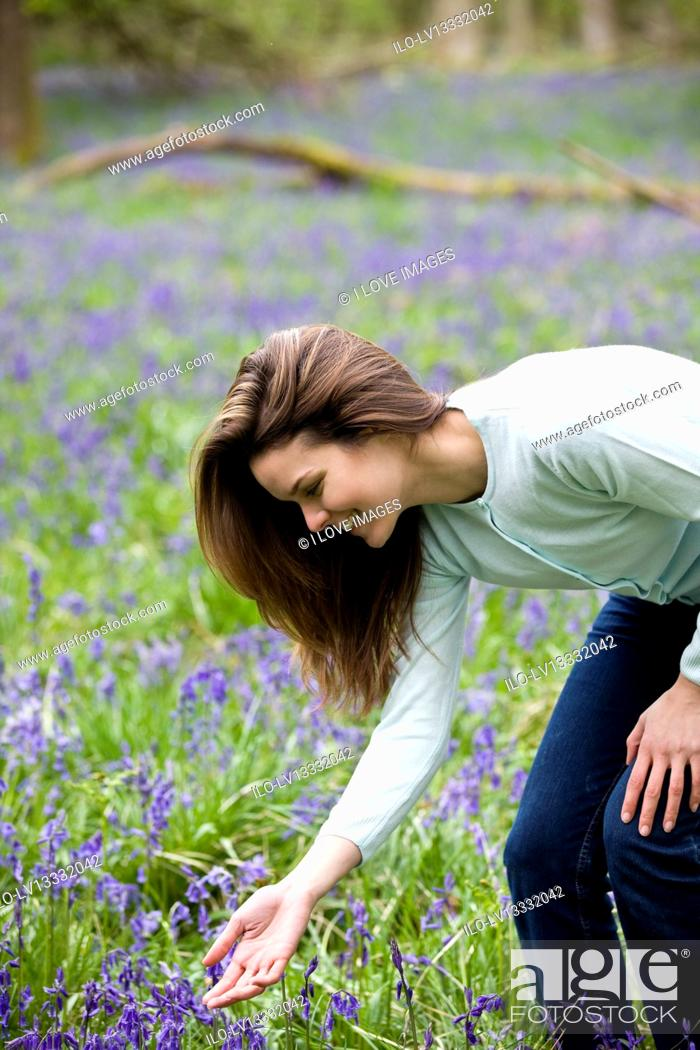 Stock Photo: A young woman picking bluebells.