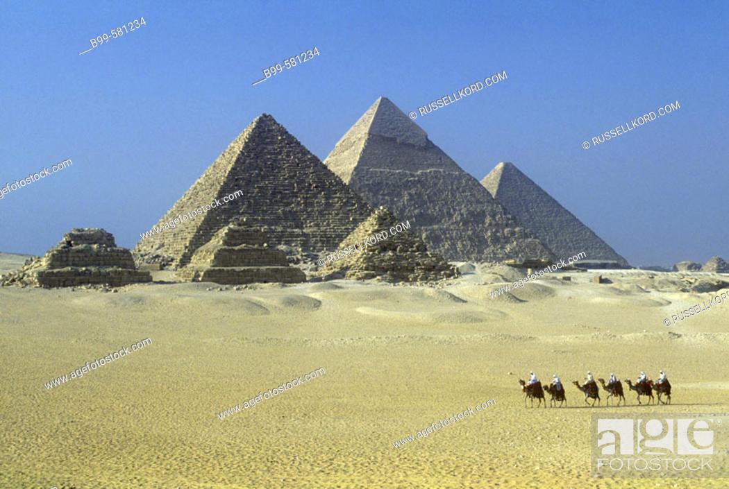 Stock Photo: Scenic Camel Caravan, Great Pyramids, Giza Ruins, Cairo, Egypt.