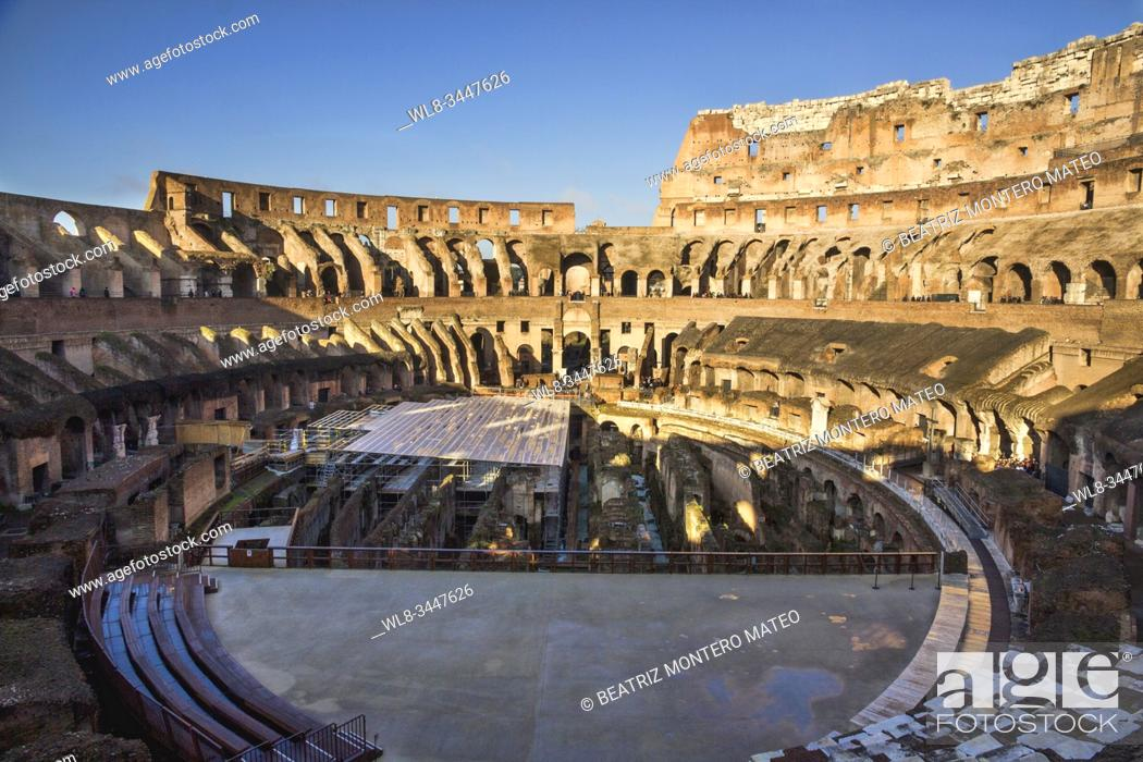 Stock Photo: Inside of Colosseum in Rome (Italy).